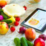 Ipad mit Grafik über gesunde Ernährung